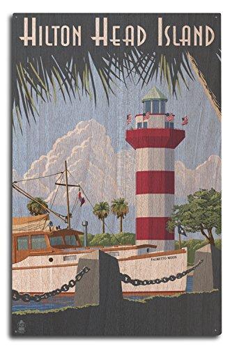 Lantern Press Hilton Head Island, South Carolina - Harbour Town Lighthouse (10x15 Wood Wall Sign, Wall Decor Ready to (Palmetto Hilton Head)