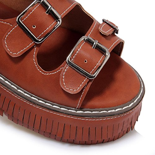 Le Donne Di Easemax Con Tacco Medio Sfrangiato Suola Spessa Open Toe Platform Cinturino Alla Caviglia Fibbia Sandali Open Toe Marrone