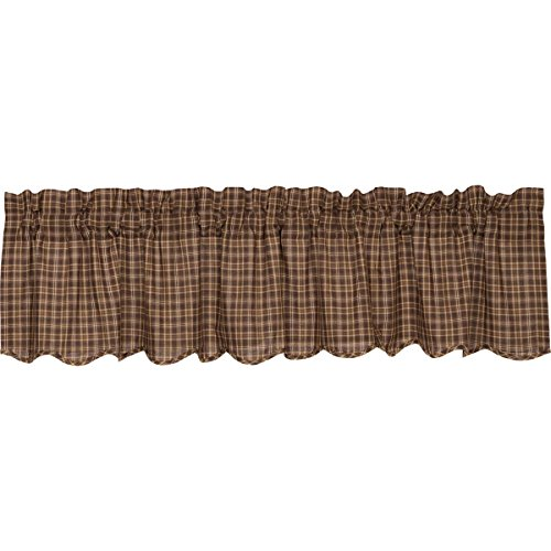 Rustic & Lodge Kitchen Window Curtains – Prescott Brown Scalloped Valance For Sale
