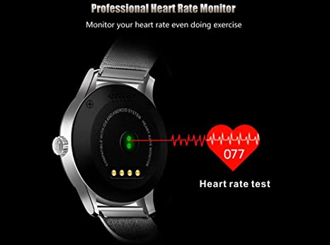 Efanr K88H Bluetooth Smart Watch with Stainless Steel Band, Wrist Watch Smartwatch Pedometer Heart Rate Monitor Round IPS Screen for Android Samsung ...
