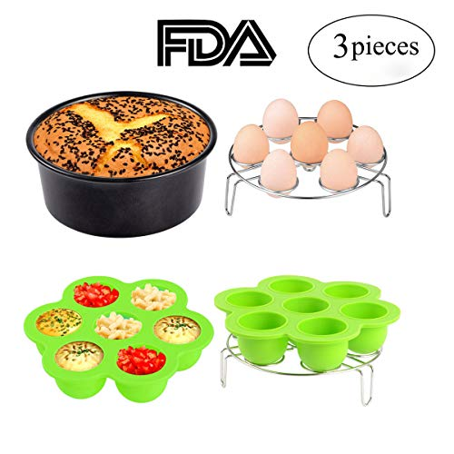 (3pcs Instant Pot Accessories Set Kit Silicone Egg Bites Mold+Egg Steamer Rack+7inch Cake Pan Mold Insert Pans for 5 6 8 Quart Pressure Cooker Accessory)