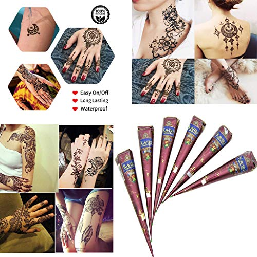 Brown Paste - UNBRUVO India Painting Tattoo Paste Cone 6 Tube Brown Paste Cone Indian Body Art