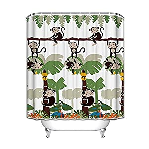 Monkey Bathroom Decor   Monkey Shower Curtain With 12 Shower Hooks