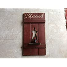 """Blessed Country Red Wood Shutter Candle Holder 20"""" Long x 10"""" Wide, 1/2 Thick Candle Cup below Star"""