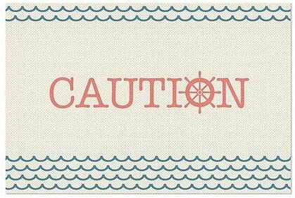 30x20 Nautical Wave Perforated Window Decal Caution 5-Pack CGSignLab