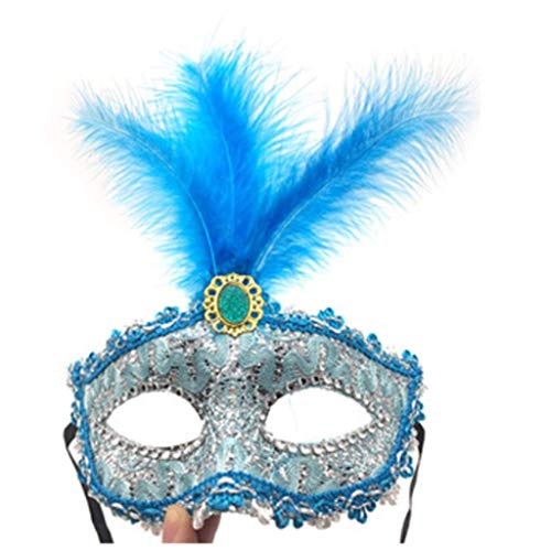 Blue Feather Costumes Mask - Yeosll Lace Half Face Masquerade Venetian