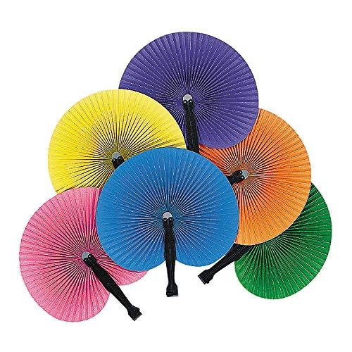 Fun Express - SoliD-Color Paper Fans - Party Supplies - Favors - Fans - 12 Pieces