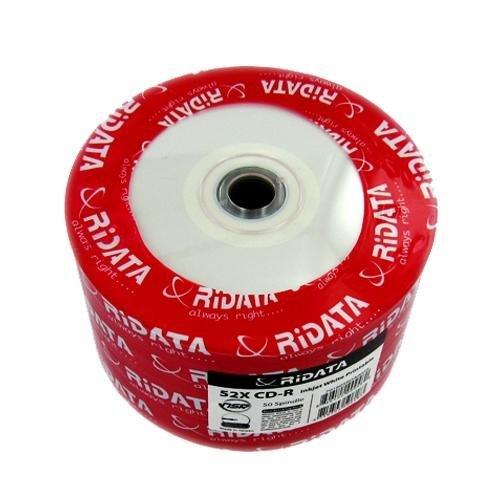 Ridata 52X 80-Min White Inkjet Hub/Silver CD-R's 100-Pak Shrinkwrap (Pak Shrink Wrap)