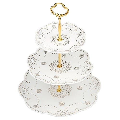Vintage Ceramic Dessert Cupcake Gold Tone