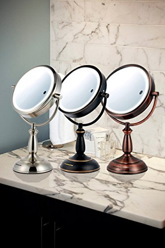 Ovente 7.5'' Lighted Tabletop Mirror, SmartTouch Cool, Warm, Daylight LED Tones (1X5X, Brushed) by Ovente (Image #9)