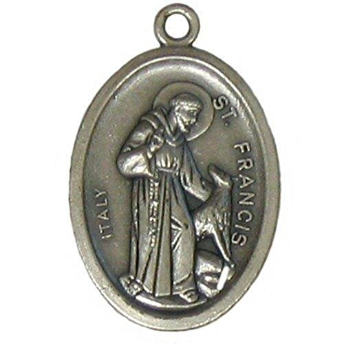 Religious Gifts Silver Tone Patron Saint Francis with Wolf Medal for Pet, 1 Inch