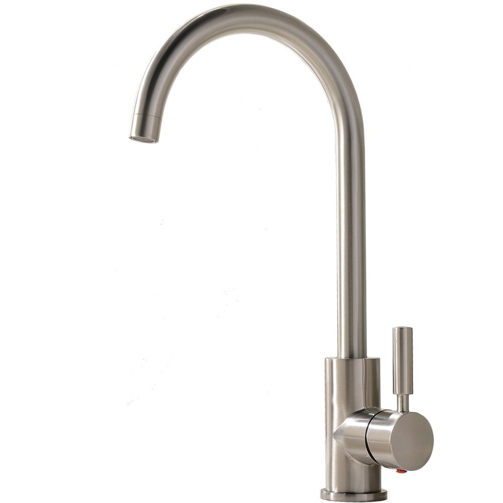 Comllen Best Commercial Brushed Nickel Stainless Steel Single Handle Kitchen Sink Faucet, Hot and Cold Single Lever Kitchen Faucets by Comllen