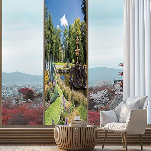 YOLIYANA Control Heat and Anti UV Window Cling,Country Decor,Reduce Heat, Glare and Block Out Harmful UV Rays,Fitzroy Gardens Summer Day View Fountain Historical Iconic,24''x78''