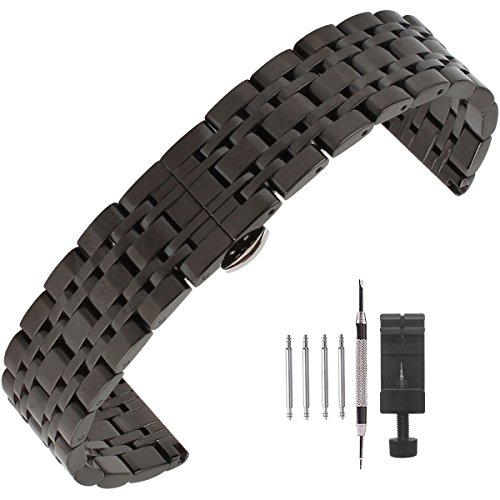 Weelovee Polished Stainless Steel Solid Link Watch Band 18mm,Butterfly Buckle Bracelet Strap Replacement for Samsung Gear Black,Repair Tools Included ()