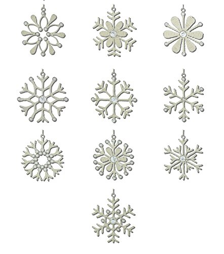 Snowflake Beaded Ornaments (ShalinIndia Handmade Christmas Snowflakes Iron and Wool 10 Different Light Weight Hanging Christmas Tree Ornaments 4 Inches)