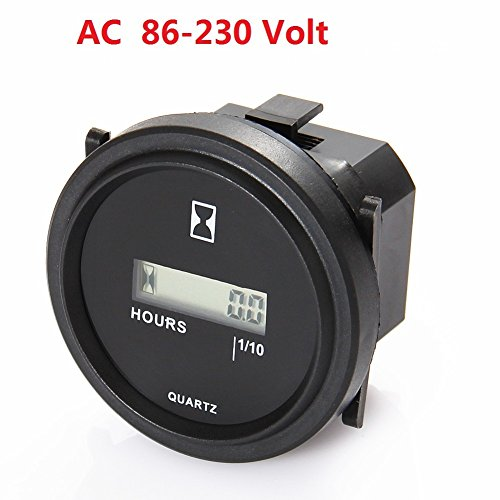 SEARON Digital Round Hour Meter 110V 120V 220V 230V AC for Generator ATV Lawn Mower Chainsaw Compressor Tiller Chipper