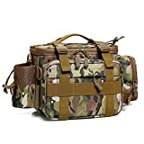 Dr.Fish Fishing Tackle Bag Tactical Assault Gear Waist Pack Range Bag Hiking Fanny Pack Utility Carry Bag, Tan Camo Large