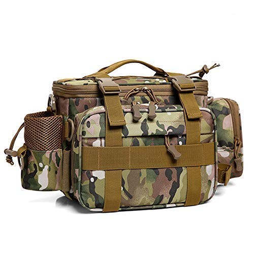 Dr.Fish Fishing Tackle Bag Tactical Assault Gear Waist Pack Range Bag Hiking Fanny Pack Utility Carry Bag, Tan Camo Large