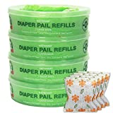 Diaper Pail Refills Compatible Munchkin and Genie Diaper Pails, 1088 Count, 4-6 Months Supply (Green), Includes 4 Packs of Natural Bamboo Charcoal