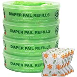 Diaper Pail Refills for Diaper Genie and Munchkin Diaper Pails, (270 Count), Pack of 4 – Green, Includes 4 – Pack of Charcoal Deodorizers