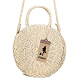 Round Straw Bag Rattan Crossbody Bag Handwoven Natural Summer Beach Shoulder Bag for Women by YINGAR