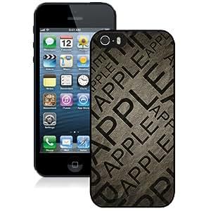 Apple Text Black Hard Plastic iPhone 5 5S Protective Phone Case