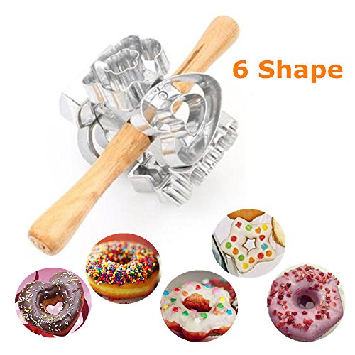 FashionMall Metal Revolving Donut Cutter Maker Machine Mold Pastry Dough Baking Roller For Cooking Baking,6 Shapes