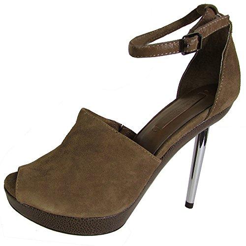 BCBGMAXAZRIA BCBG Womens Joy Ankle Strap Platform Pump Shoe, Brown, US (Bcbg Peep Toe Wedges)