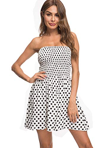 Angelegant Tube Top Dress Women Sexy Strapless Mini Dress Sleeveless Summer Dresses (S, White Dot) ()