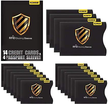 Bloqueo RFID, Kollea Tarjeteros para Tarjetas de Credito y Pasaporte [14 Protectores Tarjeta Credito & 4 Protectores Pasaporte]
