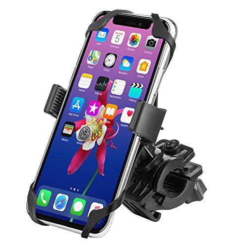 WAAO Universal Premium Bike Phone Mount for Motorcycle - Bike Handlebars, Adjustable, Fits iPhone X, 8   8 Plus, 7   7 Plus, iPhone 6s   6s Plus, Galaxy S7, S6, S5, Holds Phones Up To 3.5