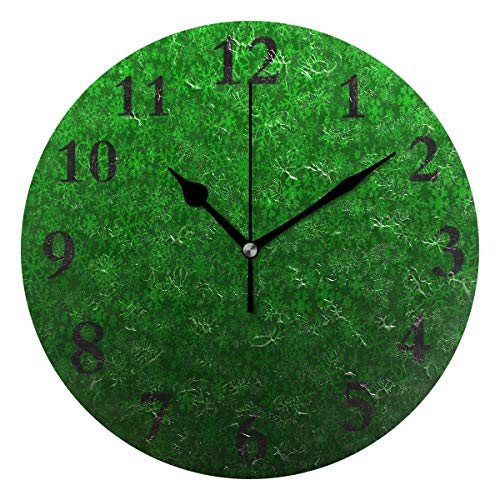 SALLYLOU Wall Clocks Battery Operated Non Ticking, Green Snowflake Pattern Round Decorative Living Room Wall -