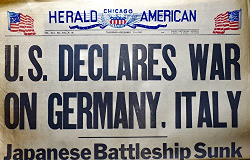 1941 - Dec 11 - Chicago Herald American - U.S> Declares War On Germany, Italy - Front Page - Vintage - - Herald S