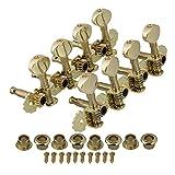 BQLZR Gold Mandolin Machine Heads Tuning Pegs Keys Tuners Metal Button Set