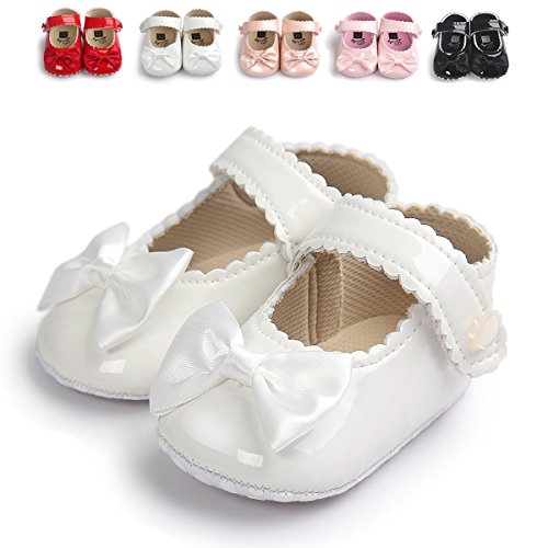 Sabe Infant Baby Girls Soft Sole Prewalker Crib Mary Jane Shoes Princess Light Shoes (11cm(0-6 month), white)