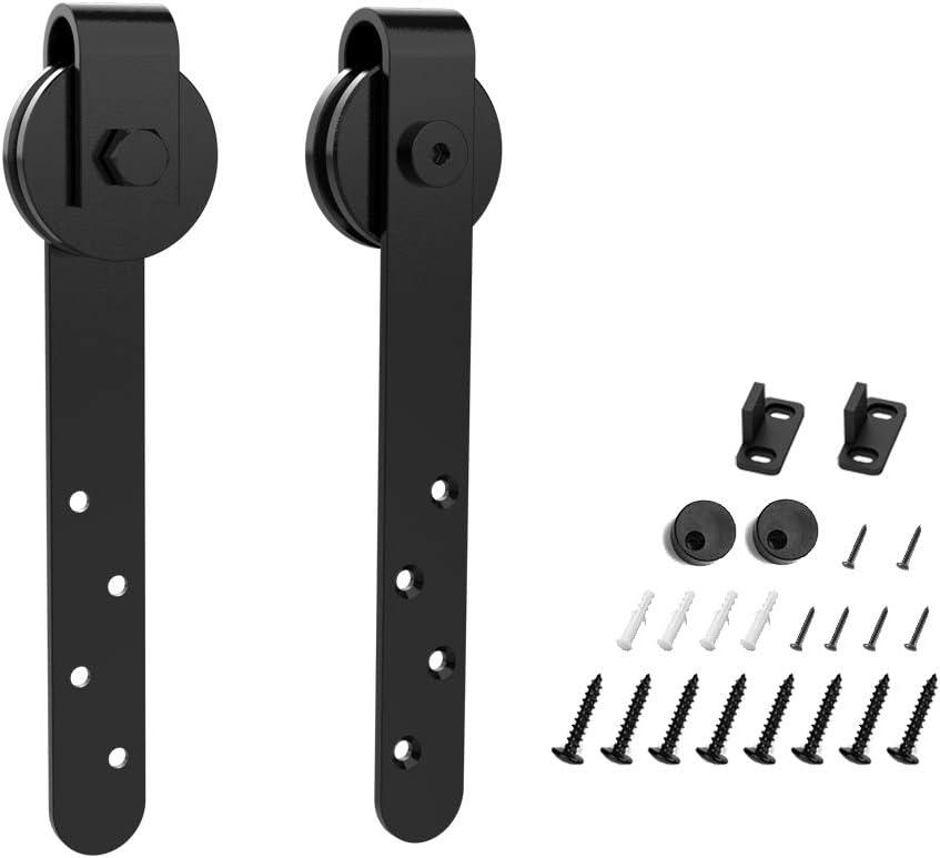 HomLux Cabinet Door Mini Barn Door Hardware Hangers 2pcs for Cabinet Doors - Smoothly and Quietly - Simple and Easy to Install J Shape Hangers