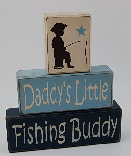 Primitive Country Wood Stacking Sign Blocks-Daddy's Little Fishing Buddy- Boys Room Fishing Theme- Fishing Baby Shower-Fishing Nursery Home (Baby Shower Fishing Theme)