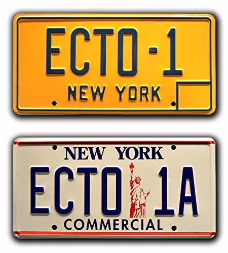 Ghostbusters 1 & 2 / ECTO-1 + ECTO-1A *METAL STAMPED* Vanity Prop License Plate Combo