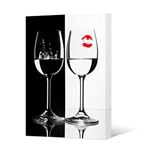 HOMEOART Black and White Wine Wall Art Red Wine Cups Red Lips Still Life Painting Canvas Prints for Kitchen Decor Bar Room Decoration Stretched and Frame Ready to Hang 16x24inch