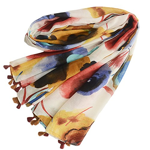 Starlit Women Summer Fashion Scarf Splash-ink Print Cotton Linen Shawl Warp - Prints Cotton Scarf Linen