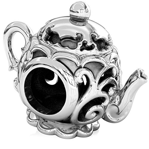 BELLA FASCINI Fancy Teapot Bead Charm Sterling Silver Fits Compatible European Bracelets and Bangles