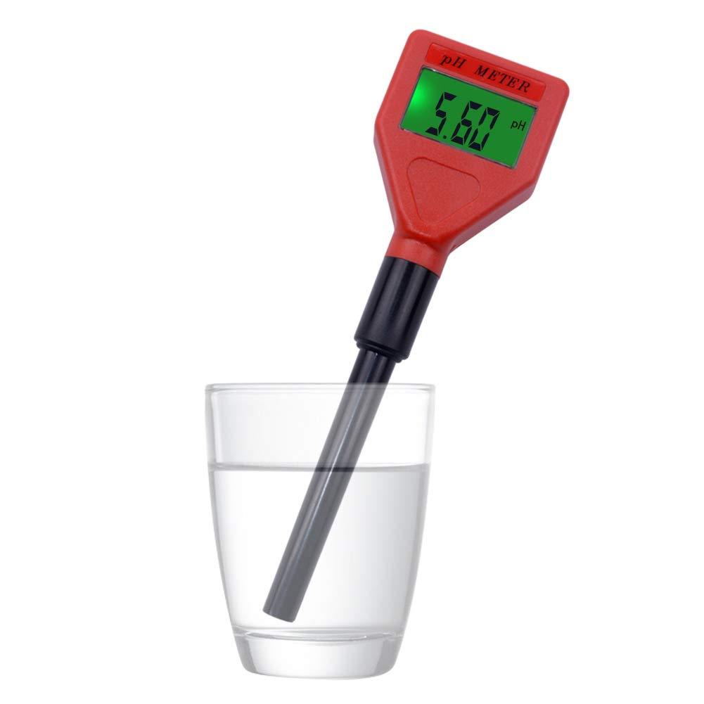 INLAR PH Meter Mini Pen Type Tester Digital Water PH Meter LCD Pen Water Quality Tester for Kitchen,Aquarium,Laboratory,Aquariums,Swimming Pool and More (Red)