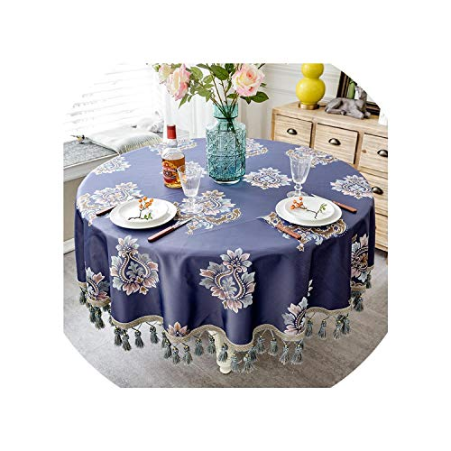 European Style Luxury Jacquard Tablecloth with Tassel for Wedding Birthday Party Round Table Cover Desk Cloth for Home Decor,2,220X220Cm Round ()