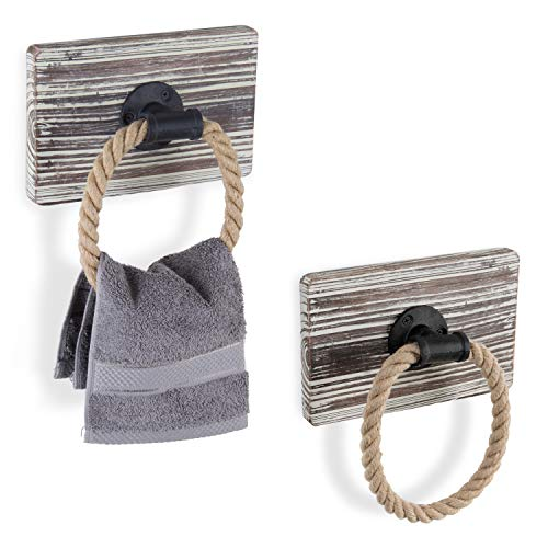 Towel Holder Wood (MyGift Urban Rustic Wall-Mounted Torched Wood & Rope Towel Rings, Set of 2)
