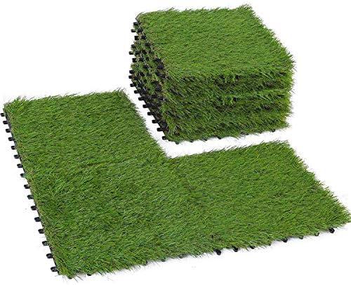 BUNDMAN Césped artificial Azulejos entrelazados Césped falso Césped sintético Alfombra Azulejo Parche de plástico Parche cuadrado Césped 9PCS: Amazon.es: Jardín