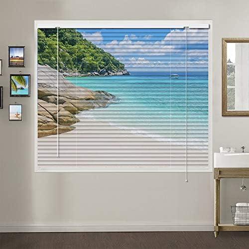 Patterned Aluminium Mini Window Blinds, Premium 1-inch Light Filtering Horizontal Custom Blinds, 26 W x 36 L
