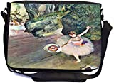 Rikki Knight Edgar Degas Art Dancer with a Bouquet of Flowers Design Multifunctional Messenger Bag - School Bag - Laptop Bag - with padded insert for School or Work - Includes UKBK Premium coin Purse