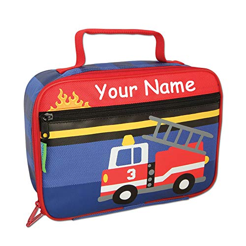 Stephen Joseph Personalized Fire Truck Rescue Vehicle Design Back to School Lunchbox Lunch Bag with Custom ()
