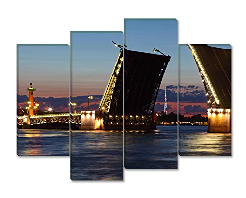 Paintings Of Russia (SmartWallArt - City Landscape Paintings Wall Art Decor Drawbridge in St Petersburg at Night Russia 4 panels Picture Print on Canvas for Modern Home Decoration)