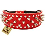 """19""""-22"""" Red Faux Leather Spiked Studded Dog Collar 2"""" Wide, 37 Spikes 60 Studs"""